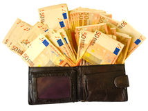 Old leather wallet with euro banknotes stock photo