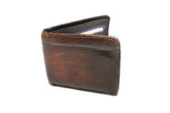 Old leather wallet Stock Images