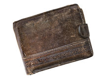 Old leather wallet isolated on a white background royalty free stock image