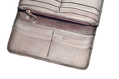 Old leather wallet, isolated on white Royalty Free Stock Images