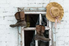 Old leather work boots royalty free stock images