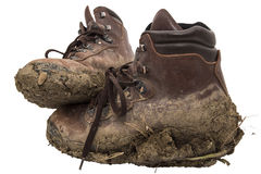 Old leather work hiking boots isolated Royalty Free Stock Photo