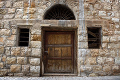 Old Lebanese Wall, Door, and Windows Stock Image