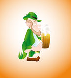 Old Leprechaun with Beer Stock Image