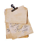 Old letter and blank paper sheets with binder Royalty Free Stock Photo