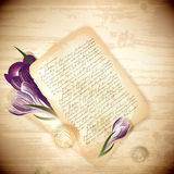 Old letter with crocus flowers Royalty Free Stock Photography