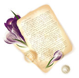 Old letter with crocus flowers Stock Photos