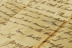 Old letter, elegant handwriting. Old handwriting on parchment, from 1800's in English royalty free stock image