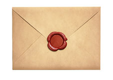 Old letter envelope with red wax seal isolated Stock Image