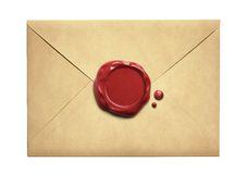 Old letter envelope with wax seal isolated Stock Photos
