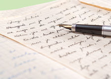 Old letter and fountain pen. Close up photo Royalty Free Stock Photos