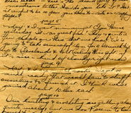 Old letter handwriting detail Royalty Free Stock Photos