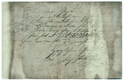 Old letter with handwritten text. grunge paper background Stock Images