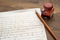 Old Letter and ink pen Stock Photography
