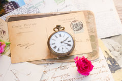 Old letter  with  old clock Stock Image