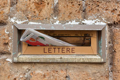 Old letter slot with newspaper closeup. Stock Image