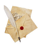 Old letter with vintage handwriting, envelope and feather pen stock photography