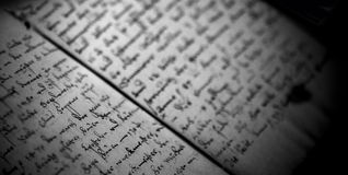Old letter writings book note Royalty Free Stock Photo
