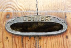 Old lettere box on a door in Italy Royalty Free Stock Photography