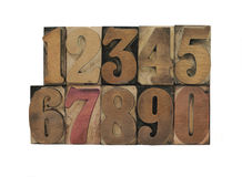 Old letterpress wood numbers Royalty Free Stock Images