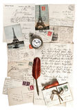 Old letters, accessories and post cards Royalty Free Stock Image