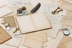 Old letters, antique accessories and office tools Royalty Free Stock Photo