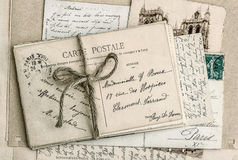 Old letters and antique french postcards Stock Image