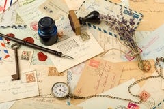 Old letters background Stock Image
