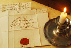 Old letters and candle, elegant handwriting. Candle letter and seal from 1800's, example of handwriting email royalty free stock photography