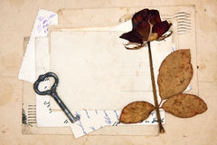 Old letters, empty post cards and dried rose Royalty Free Stock Photography