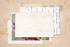 Old letters, empty post cards. Vintage background Royalty Free Stock Image