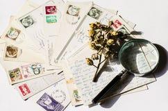 Old letters, french post cards. nostalgic vintage Stock Image