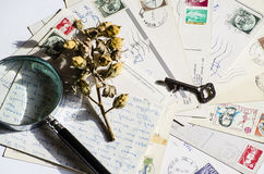 Old letters, french post cards. nostalgic vintage Stock Photography