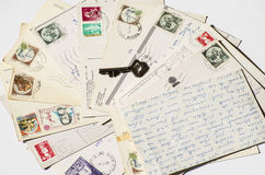 Old letters, french post cards. nostalgic vintage Royalty Free Stock Photography