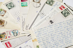 Old letters, french post cards. nostalgic vintage Stock Image