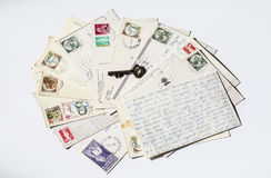 Old letters, french post cards. nostalgic vintage Stock Photo