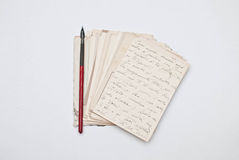 Old letters. And nib pen Royalty Free Stock Images