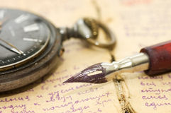 Old letters and pen as a background Stock Image