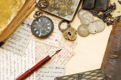 Old letters and pen still life. Old letters and pen as a background royalty free stock image