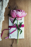 Old letters with peony rose Stock Photo