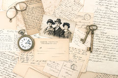 Old letters and postcards, antique accessories and photo Royalty Free Stock Images