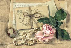 Old letters, postcards and vintage accessories Stock Photography