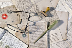 Old letters still life with glasses Stock Photography