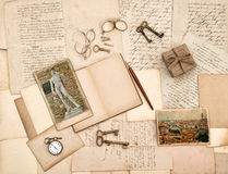 Old letters, vintage accessories, diary and photos from Florence Royalty Free Stock Photos