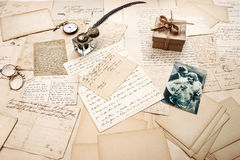 Old letters, vintage postcards and retro picture of couple Stock Photo