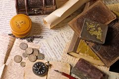 Old Letters With Various Things Stock Photo