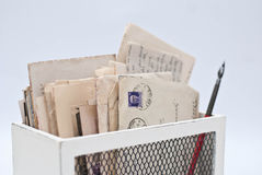 Old letters. In the wooden box Royalty Free Stock Image