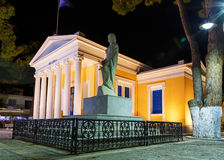 Old library building with statue of Rhodes Kremasti night lights Stock Photo