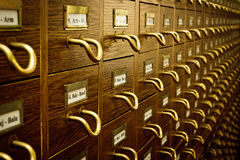 Old Library Card Catalog Stock Images