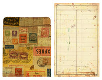 Old Library Card Pocket and Insert, Altered. Old library card pocket and insert. Altered with vintage postage stamps, labels and grunge.  Great design element Royalty Free Stock Photo